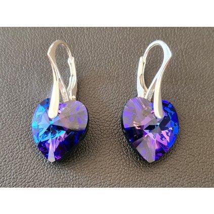Náušnice srdiečka so Swarovski Crystals Heliotrope 205
