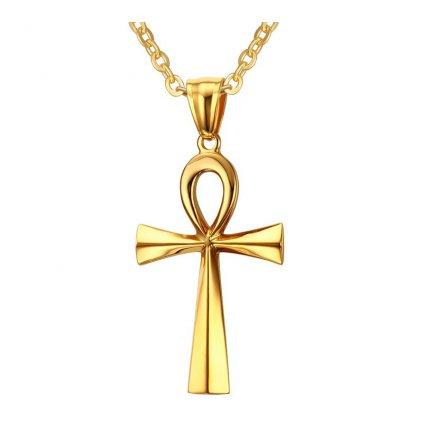 Prívesok krížik Egypt s retiazkou zlatá farba