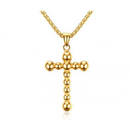Prívesok krížik Ball v tvare guličiek zlatá farba