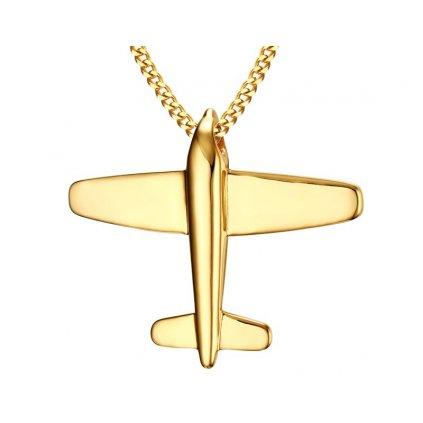 Prívesok lietadlo s retiazkou zlatá farba