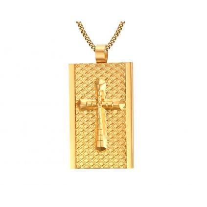 Prívesok s krížikom vzorovaný zlatá farba