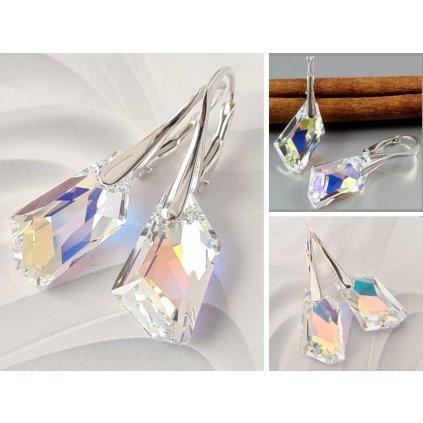 Elegantné dámske strieborné náušnice Made with Swarovski Crystals - Crystal Aurore Boreale
