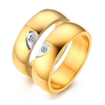 Prstene z chirurgickej ocele - Srdce a zirkón 2ks
