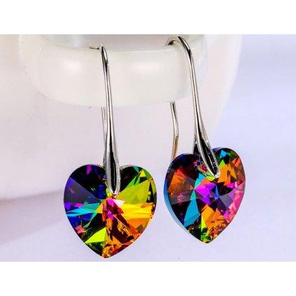 Náušnice srdiečka Swarovski Crystals Crystal Vitrail Medium