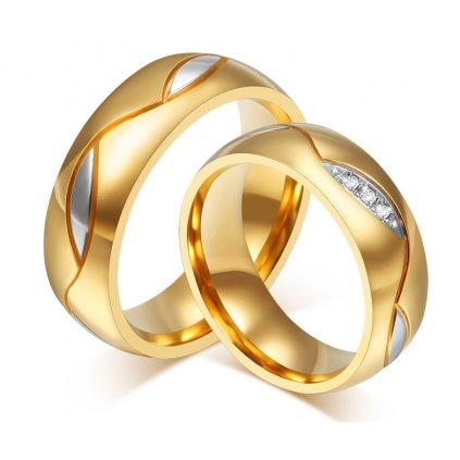 Svadobné obrúčky kombinované strieborno zlaté dámsky s krištálikmi