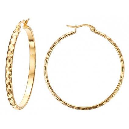 Štýlové náušnice tvar kruhu zlatá farba