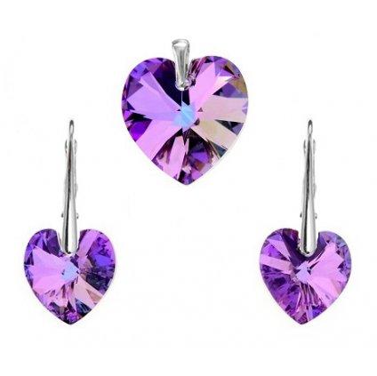 Prívesok a náušnice srdce Swarovski Crystals fialová farba