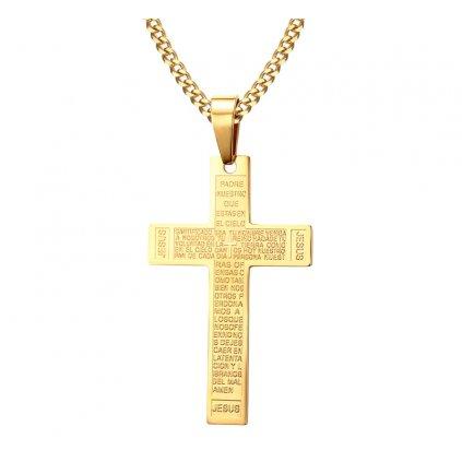Pozlátený krížik z chirurgickej ocele s modlitbou