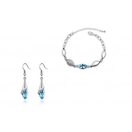 Súprava šperkov náramok a náušnice vo farbe Aquamarine