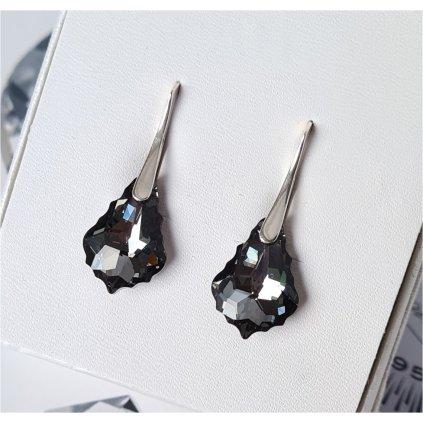 Náušnice Barok Made With Swarovski Crystals - čierne