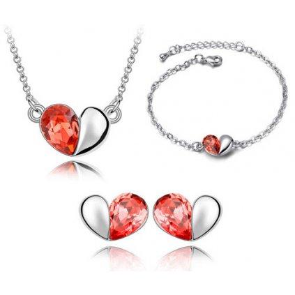 Náhrdelník, náušnice a náramok v tvare srdca s kryštálmi červená farba