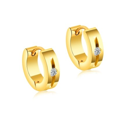 Okrúhle náušnice so zirkónom zlatá farba