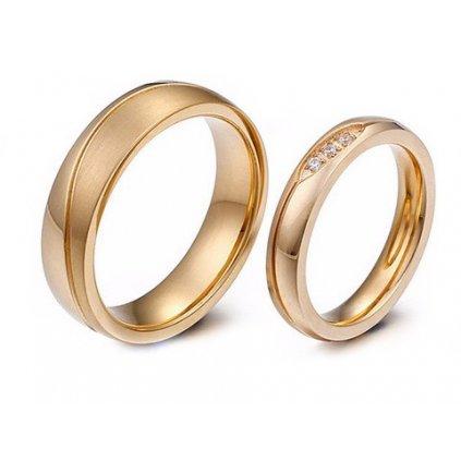 Svadobné obrúčky zlatej farby 2 ks