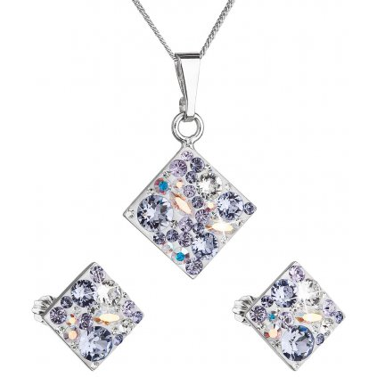 Súprava šperkov so Swarovski Crystals - kosoštvorec fialový
