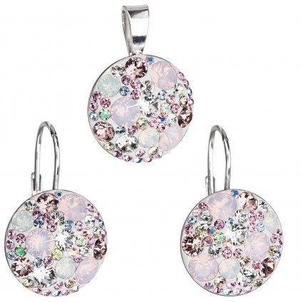 Súprava šperkov so Swarovski Crystals - ružové a okrúhle