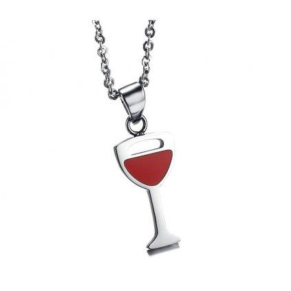 Prívesok - Pohár červeného vína strieborná farba