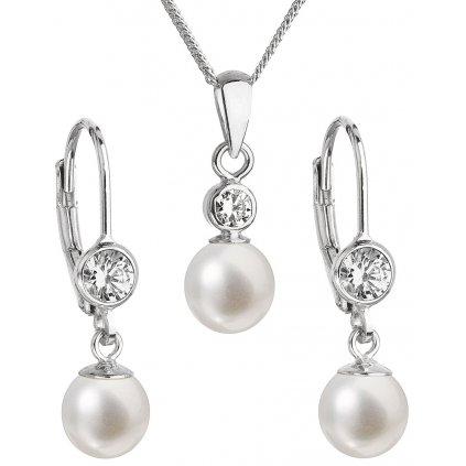 Súprava šperkov z bielych, riečnych perál so zirkónom