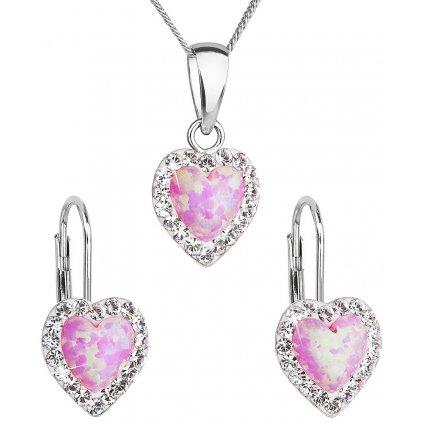 Súprava šperkov v tvare srdca so synt. opálom a Swarovski crystals, náušnice a prívesok, ružová farba