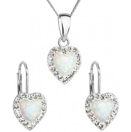 Súprava šperkov v tvare srdca so synt. opálom a Swarovski crystals, náušnice a prívesok, biela farba