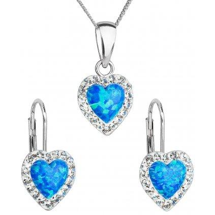 Súprava šperkov v tvare srdca so synt. opálom a Swarovski crystals, náušnice a prívesok, modrá farba