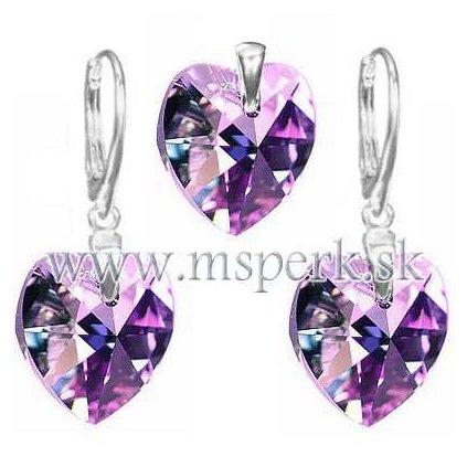 Exkluzívny set SWI crystal 14 mm v tvare srdca fialová farba