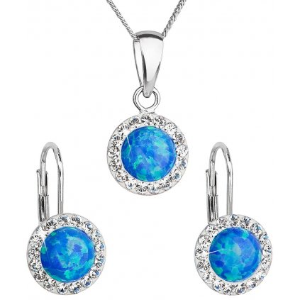 Prívesok a náušnice so synt. opálom a Swarovski crystals - modrá farba