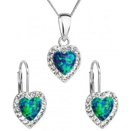 Súprava šperkov v tvare srdca so synt. opálom a Swarovski crystals, zeleno modrá farba