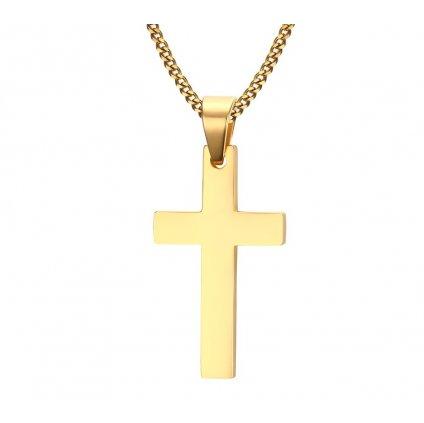 Prívesok s retiazkou - jednoduchý krížik z chirurgickej ocele zlatá farba