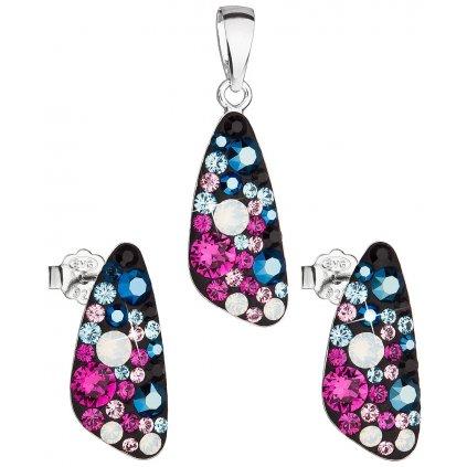 Dámska súprava šperkov so Swarovski Crystals - Galaxy čierno ružovo modrá farba