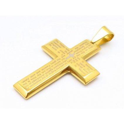 Kríž na krk zlatej farby s modlitbou a malým krížikom v strede