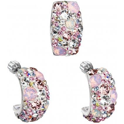 Súprava šperkov so Swarovski Crystals náušnice a prívesok - Elegant ružová farba