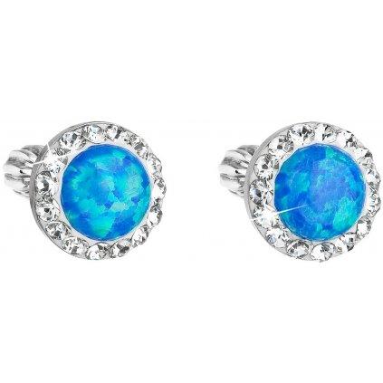 Náušnice Swarovski Crystals modrý opál strieborné