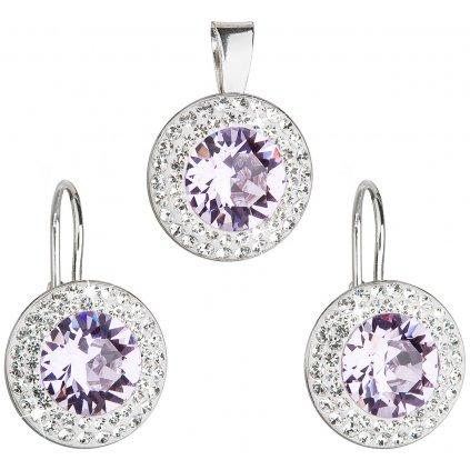 Súprava šperkov s krištáľmi Swarovski - violet okrúhle svetlo fialová