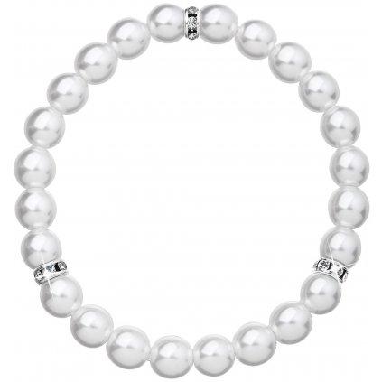 Perlový náramok biely - v troch častiach s krištálikmi