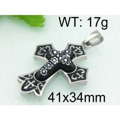 Prívesok Cross krížik čierno strieborný s motívmi