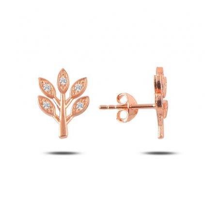 Strieborné náušnice strom s malými zirkónmi ružovo zlaté