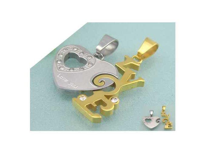 Dvojdielny prívesok pre páry v tvare srdce s nápisom LOVE strieborno zlatá farba