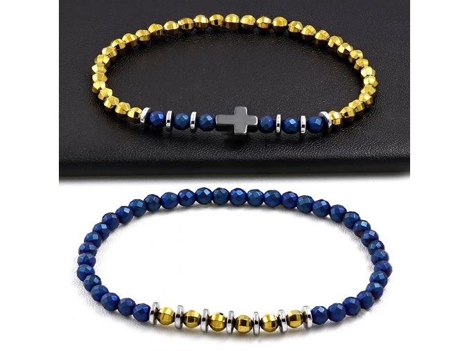 Náramky pre dvoch modro žlté s krížikom