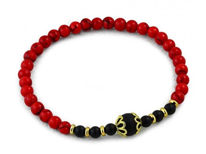 Náramok čierno červený elastický