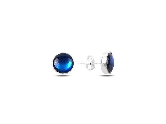 Strieborné náušnice s okrúhlym modrým kameňom 9 mm