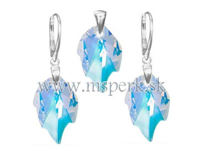 Exkluzívny set SWI crystal v tvare listu modrý odlesk