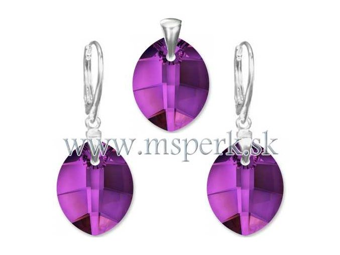 Exkluzívny set SWI crystal oválny tvar fialová farba