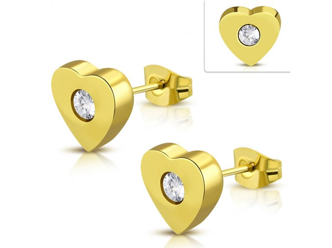 Napichovacie náušnice v tvare srdca so zirkónom zlatá farba