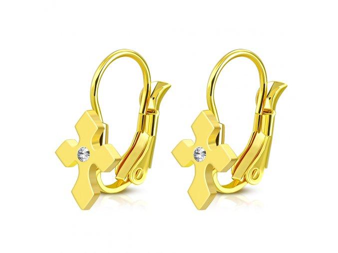 Náušnice krížik so zirkónom zlatá farba