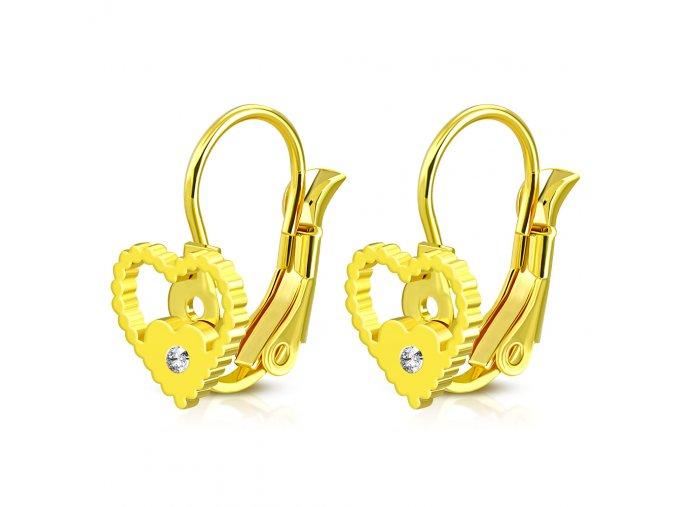 Náušnice v tvare srdca so zirkónom zlatá farba