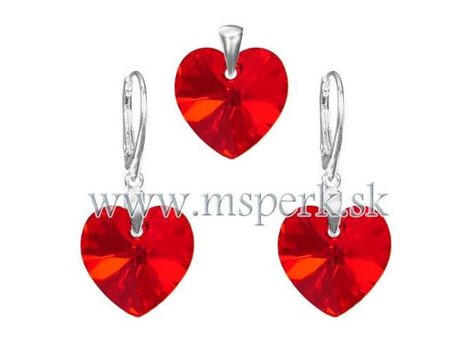 Exkluzívny set SWI crystal v tvare srdca červená farba