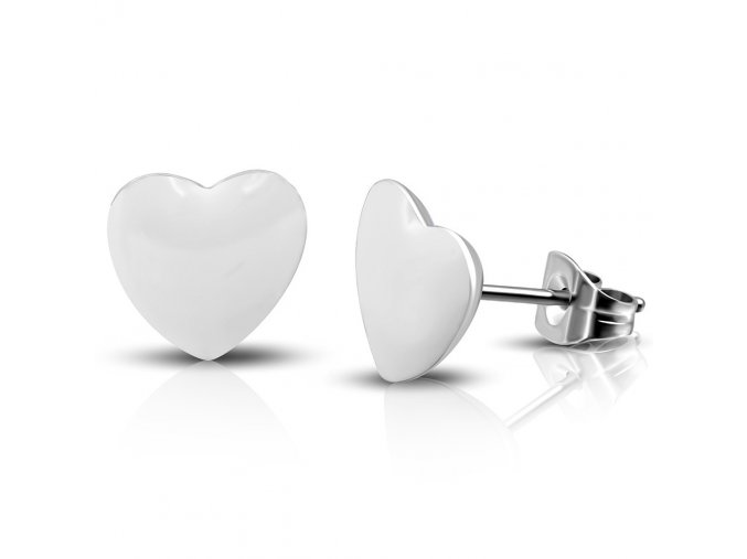 LEB349 Náušnice biele srdce