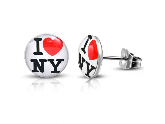 LEB460 Okrúhle náušnice I LOVE NY