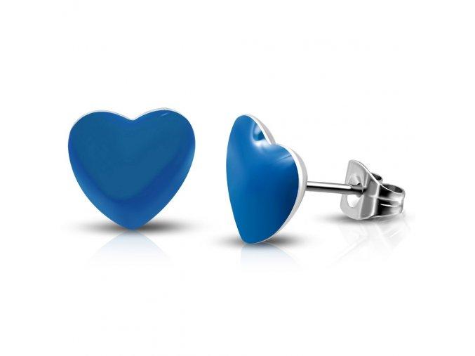 LEB562 Náušnice modré srdce