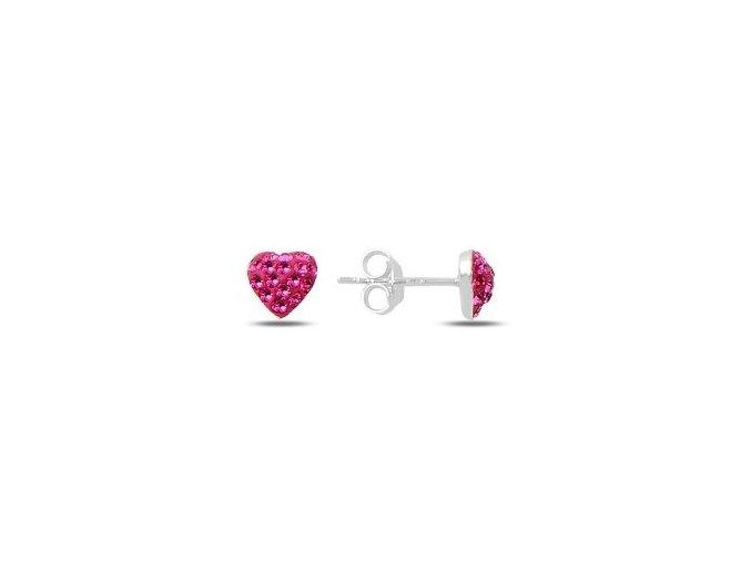 Strieborné náušnice ružové srdiečko so zirkónmi  Ag 925/1000 Rh: 0,5 g